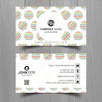 Colorful business card with circles and lines