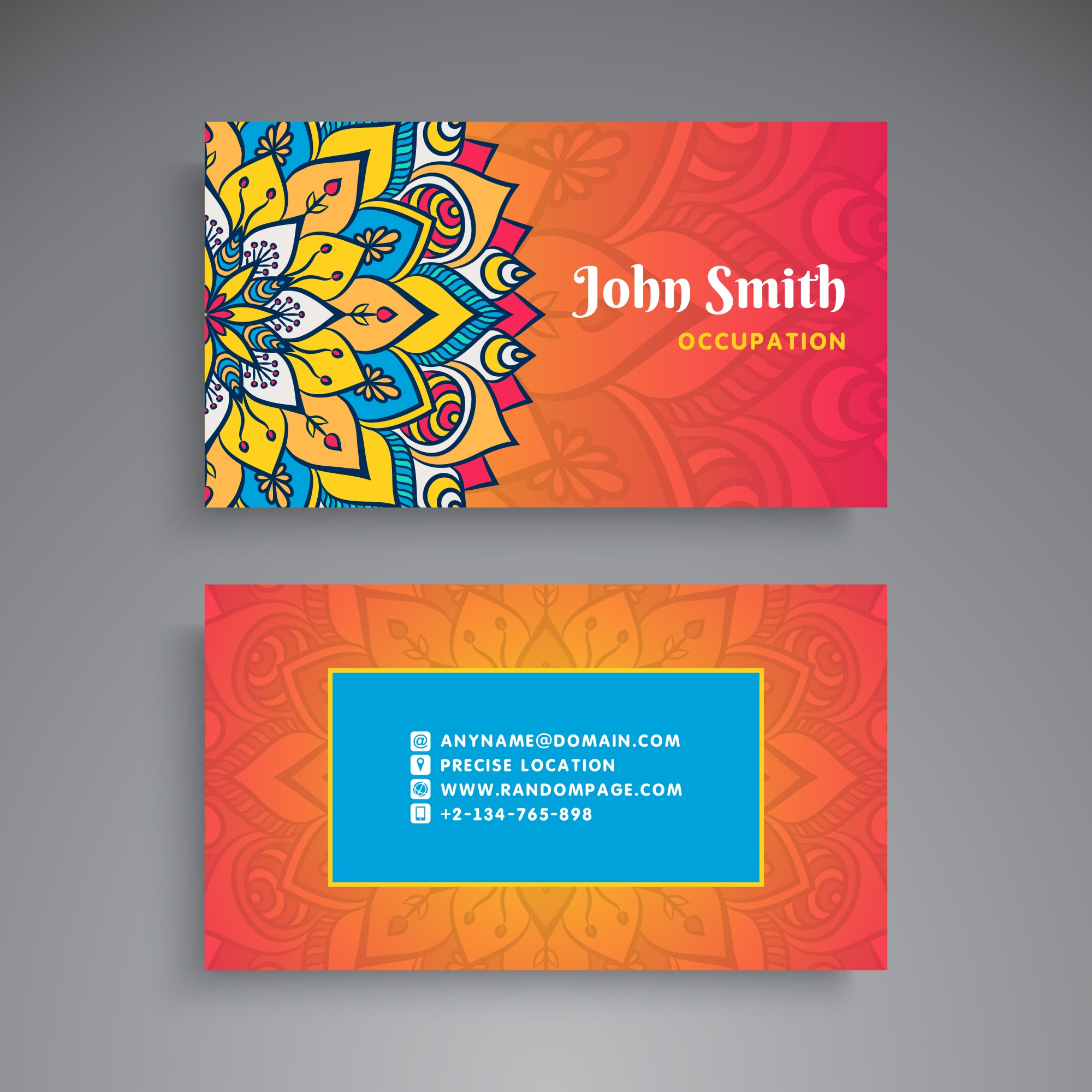 Colorful business card with floral mandala
