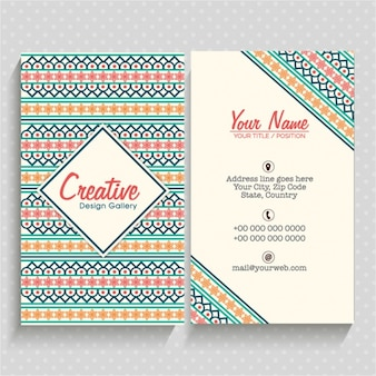 Colorful business card with geometric decoration