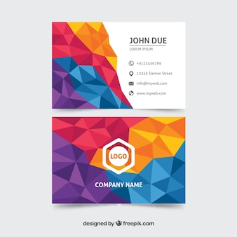 Colorful business card with geometry