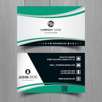 Colorful business card with green shapes