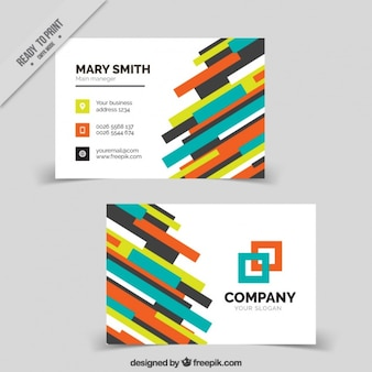Colorful business card with stripes