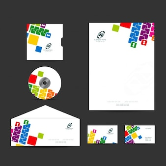 Colorful business stationery collection