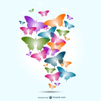 Colorful butterflies flying high