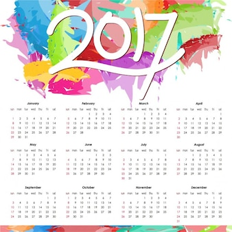 Colorful calendar for 2017