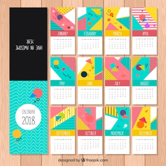 Colorful calendar of memphis shapes