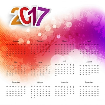 Colorful calendar with watercolors