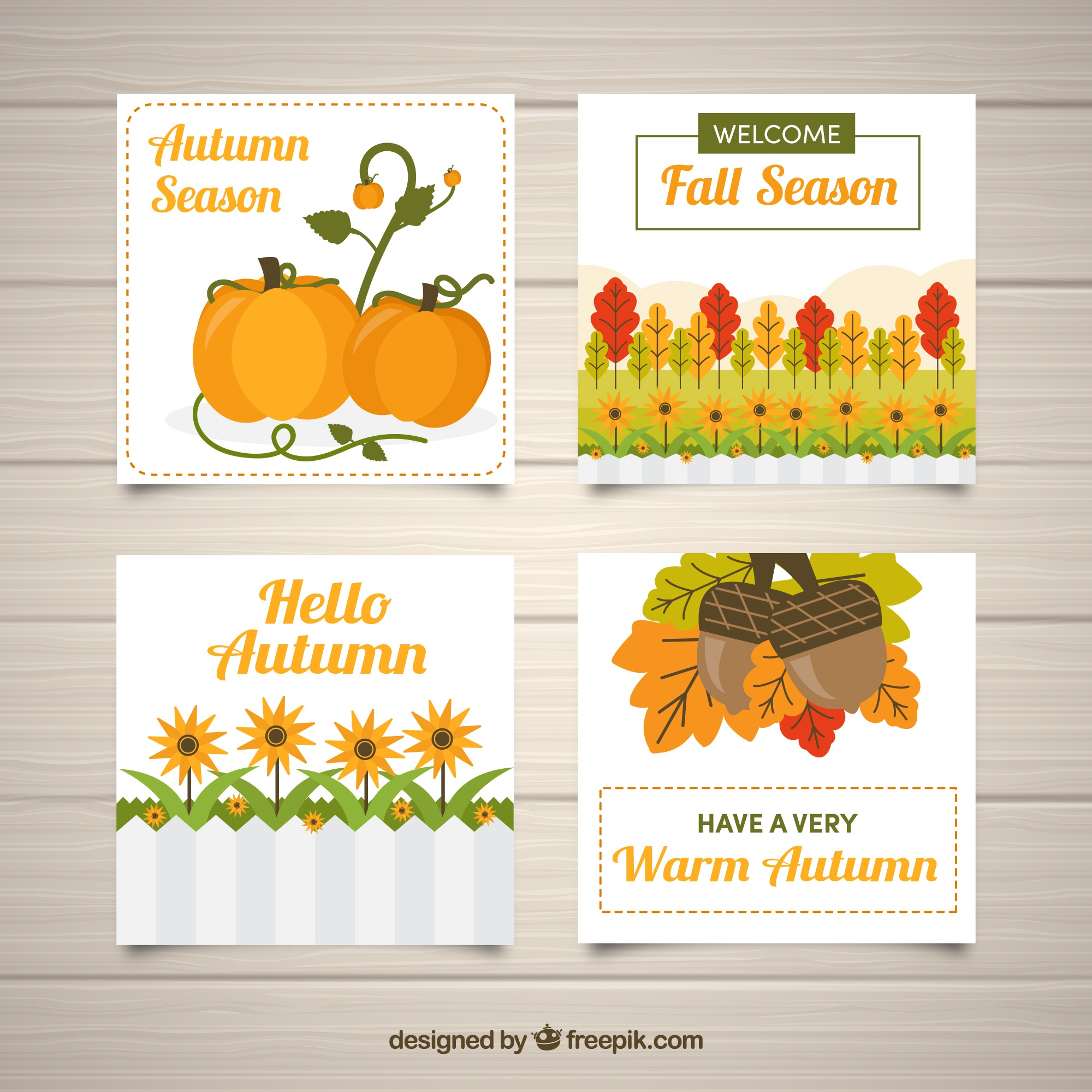 Colorful card collection with autumn elements