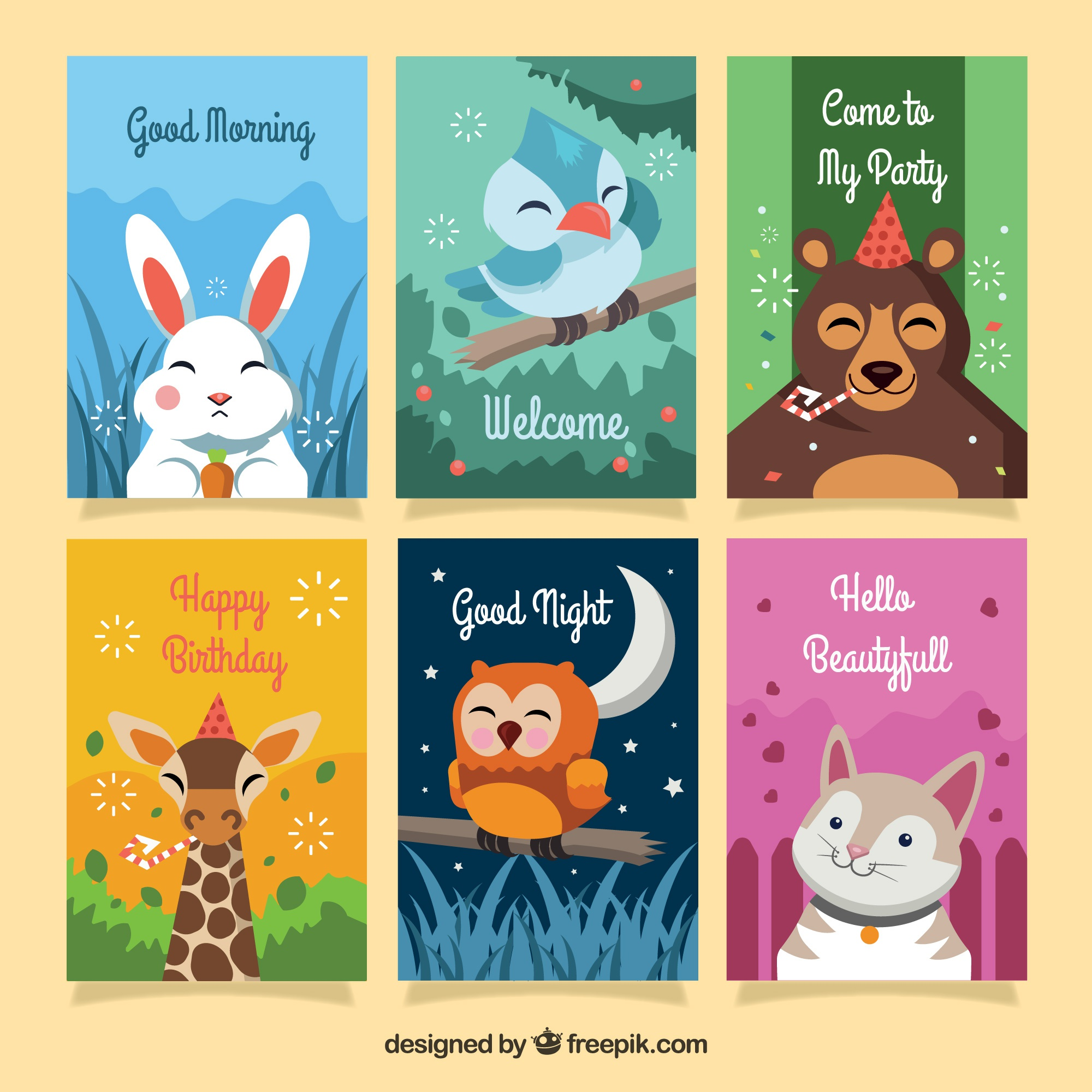 Colorful card collection with happy animals