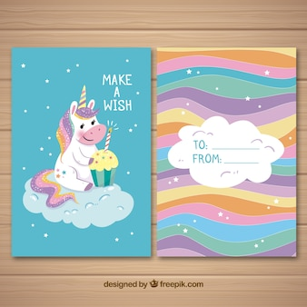 Colorful card with cute unicorn and cupcake