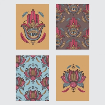 Colorful cards of decorative ethnic items