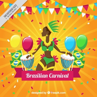 Colorful carnival background with brazilian dancer