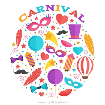 Colorful carnival elements collection