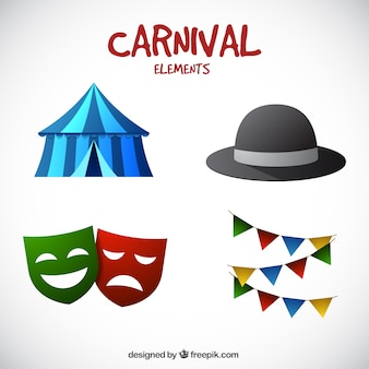 Colorful carnival elements in realistic style