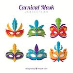 Colorful carnival masks in flat design