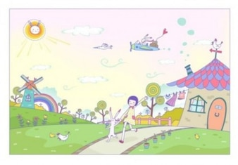 Colorful cartoon landscape with rabbits