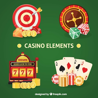 Colorful casino elements collection