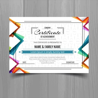 Colorful certificate with abstract shapes