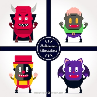 Colorful characters for halloween in flat style