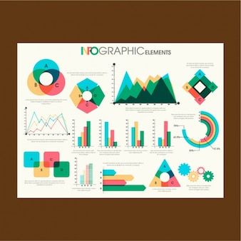 Colorful charts for infographics in flat design