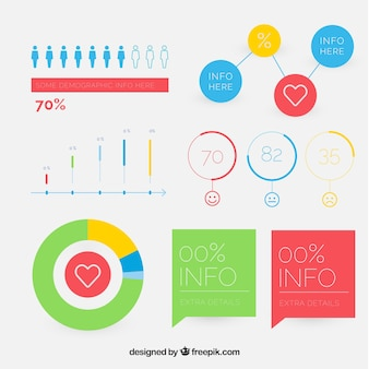 Colorful charts ready for infographics in flat design