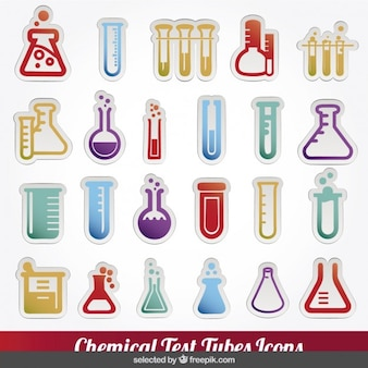 Colorful chemical test tubes icons