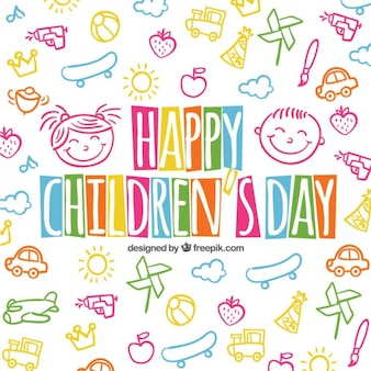 Colorful children's day background in sketchy style