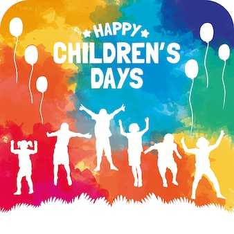 Colorful children's day card in watercolor style