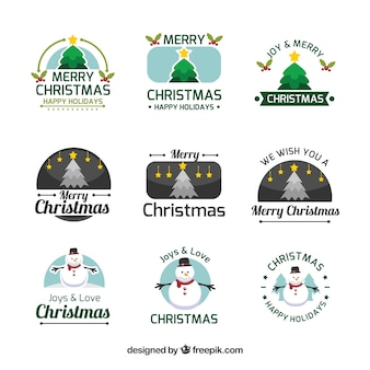 Colorful christmas logo collection
