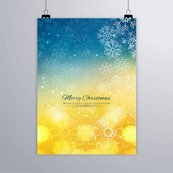 Colorful christmas poster of snowflakes