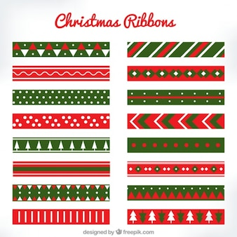 Colorful christmas ribbons with great designs