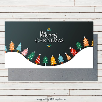 Colorful christmas trees card