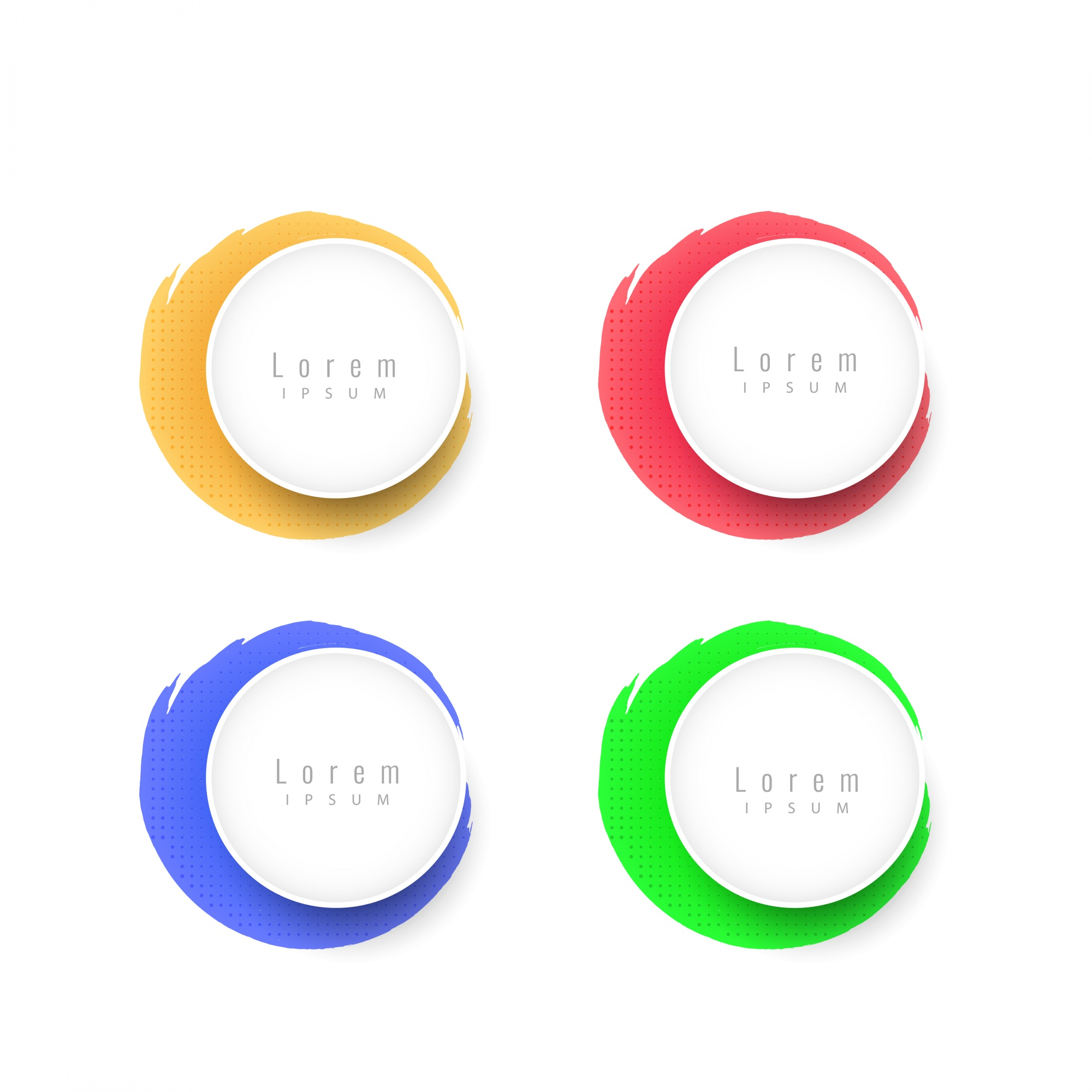 Colorful circular design elements set