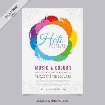 Colorful circular leaflet for holi festival