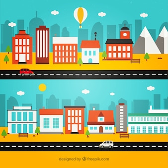 Colorful city in flat design