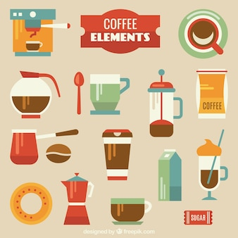 Colorful coffee elements