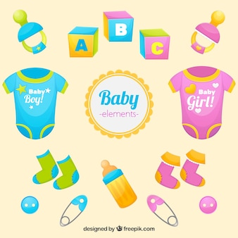 Colorful collection of baby objects