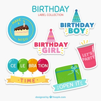 Colorful collection of birthday stickers