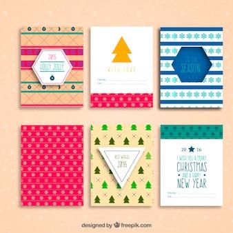 クリスマスのカラフルなコレクションと新年カード
