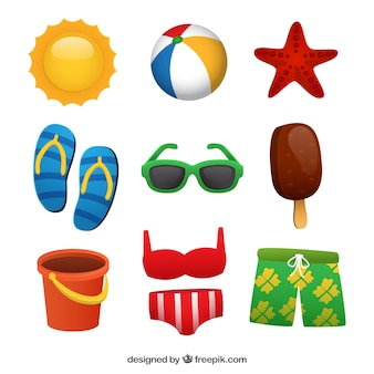 Colorful collection of fantastic summer items