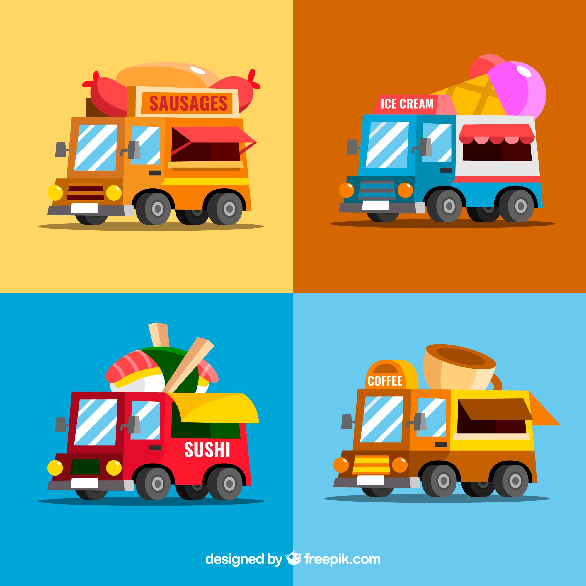 Colorful collection of fun food trucks