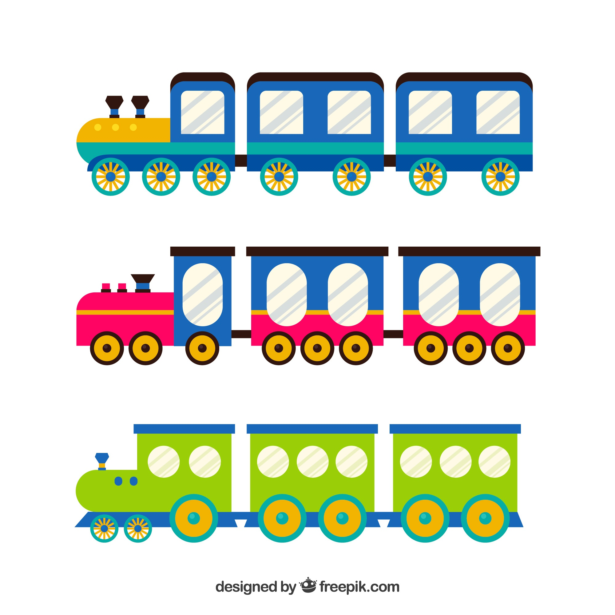Colorful collection of fun trains