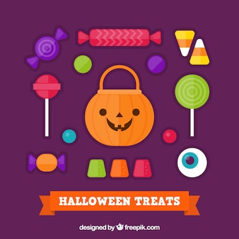 Colorful collection of halloween sweets