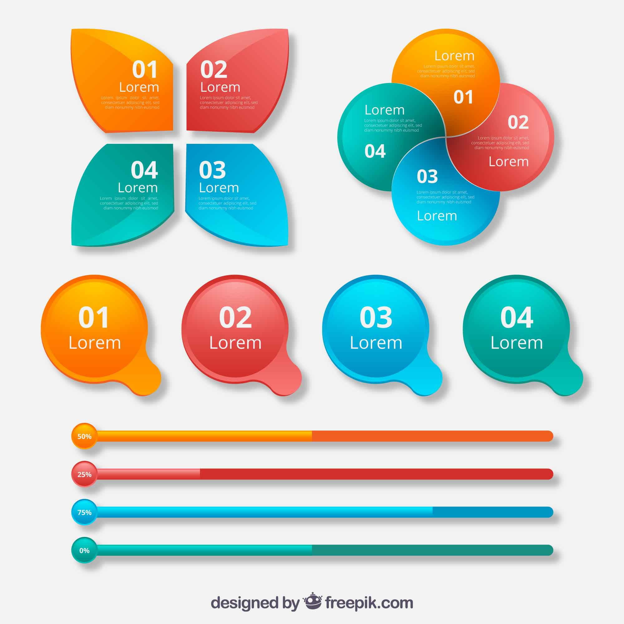 Colorful collection of infographic elements