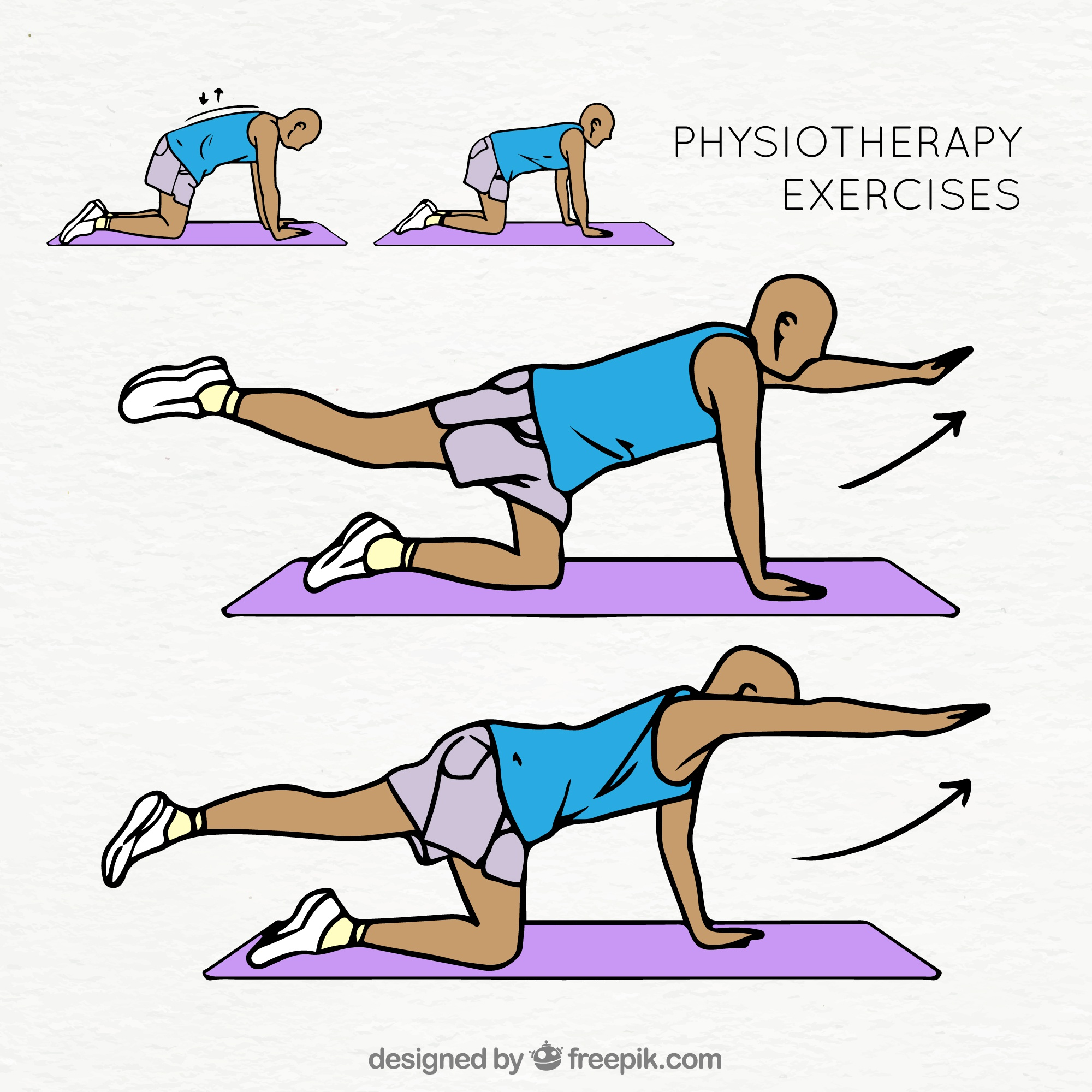 Colorful collection of physiotherapy exercises