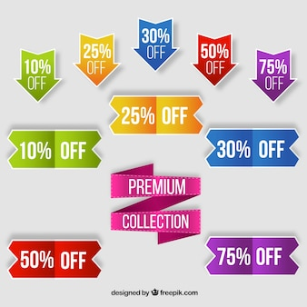 Colorful collection of sale labels