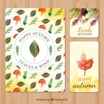 水彩の秋のカードのカラフルなコレクション