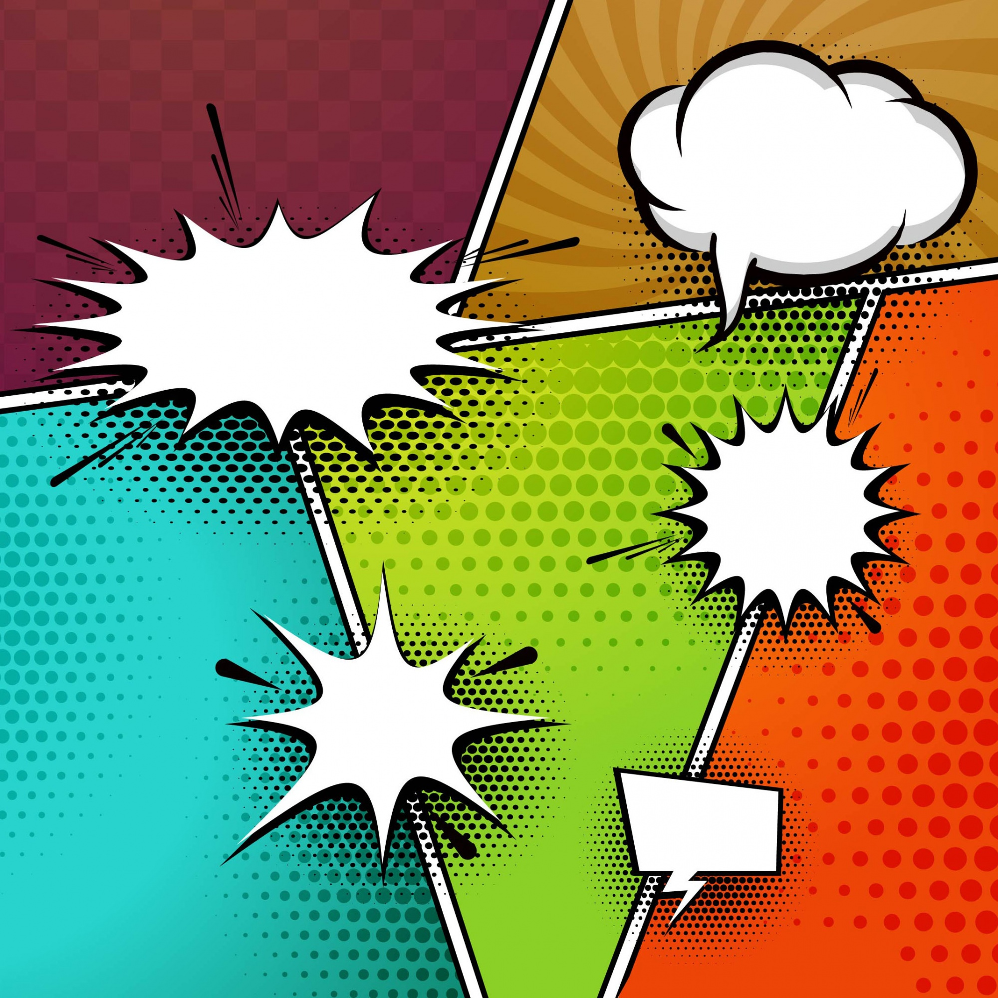 Colorful comic book background with speech bubbles