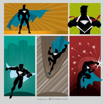 Colorful comic hero scenes