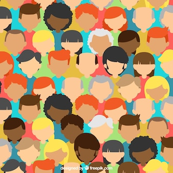 Colorful composition with people's heads